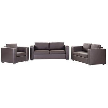 Skórzana sofa brązowa rozmiar XXL 2 sofy + 1 fotel Gabriele kod: 7081455788630