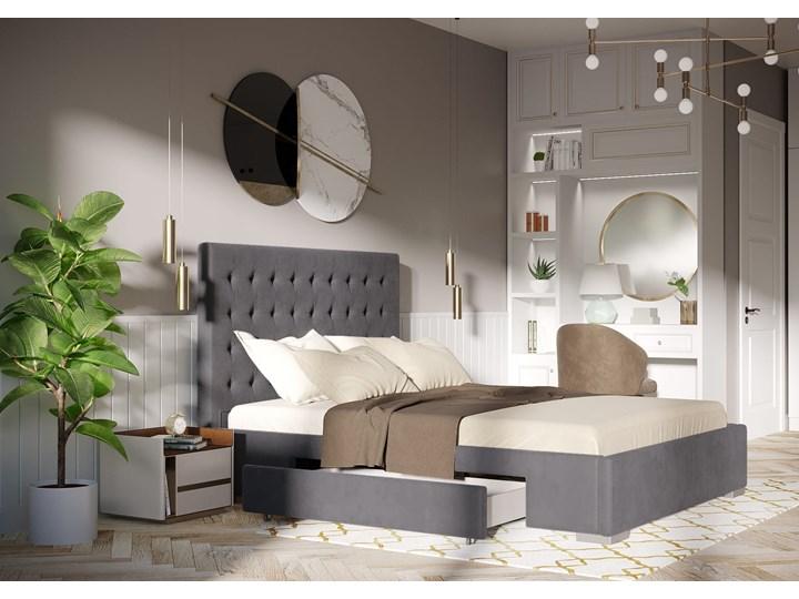 ŁÓŻKO 160x200 z MATERACEM i 2 SZUFLADAMI - PESARO WELUR SZARE Łóżko tapicerowane Kategoria Łóżka do sypialni