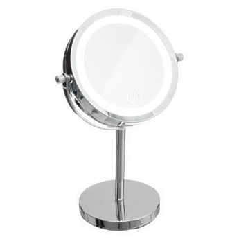 Podświetlane lusterko kosmetyczne LED, okrągłe, na metalowej podstawie