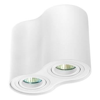 Oprawa podwójna natynkowa okrągła tuba MR16 GU10 biała biały mat aluminiowa aluminium wewnętrzna