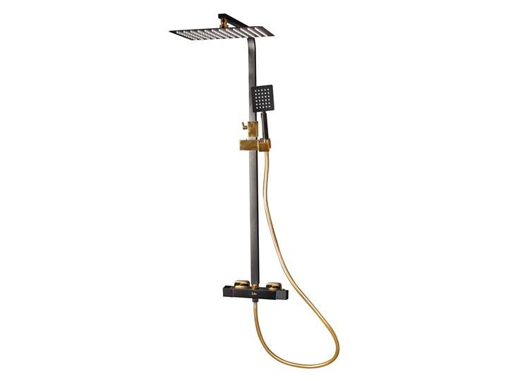 Czarno Złoty zestaw prysznicowy z termostatem Wyposażenie Z deszczownicą Wyposażenie Z słuchawką