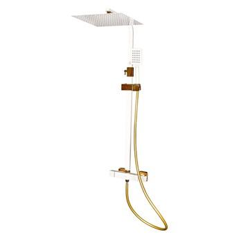 Biało Złoty zestaw prysznicowy z termostatem
