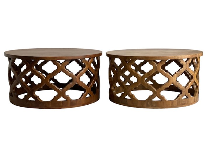 Stolik Kawowy HUGGEN STOR - 100 cm (Karmel) Kategoria Stoliki i ławy Drewno Zestaw stolików Rozmiar blatu 100x100 cm
