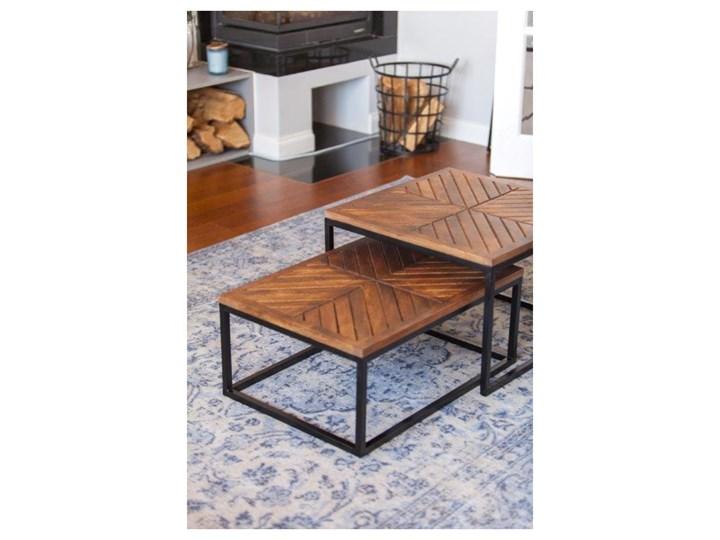 Stolik Kawowy LAG JODŁA (Bursztyn) Wysokość 30 cm Drewno Metal Zestaw stolików Styl Vintage