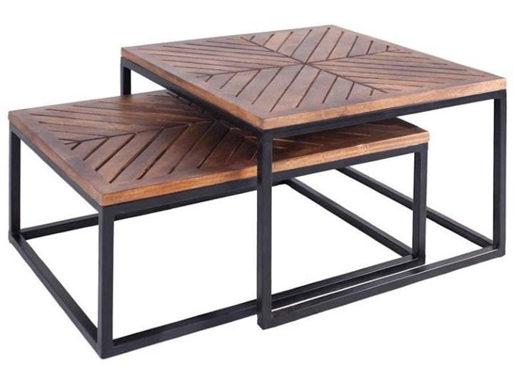 Stolik Kawowy LAG JODŁA (Bursztyn) Metal Kategoria Stoliki i ławy Wysokość 30 cm Drewno Zestaw stolików Styl Nowoczesny
