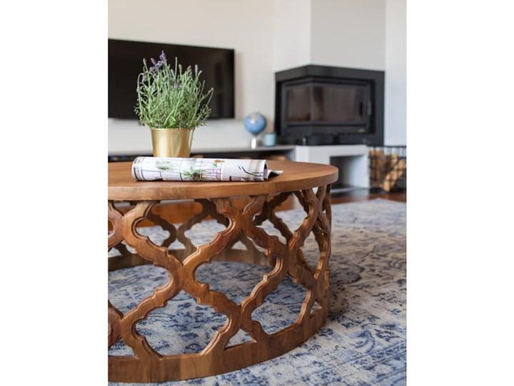 Stolik Kawowy HUGGEN STOR - 80 cm (Karmel) Styl Vintage Drewno Kształt blatu Okrągłe