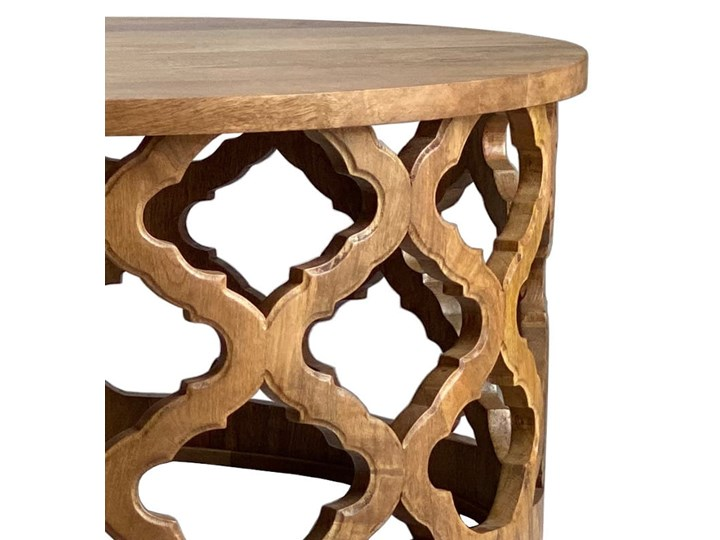 Stolik Kawowy HUGGEN STOR - 80 cm (Bursztyn) Wysokość 40 cm Drewno Kształt blatu Okrągłe Kategoria Stoliki i ławy