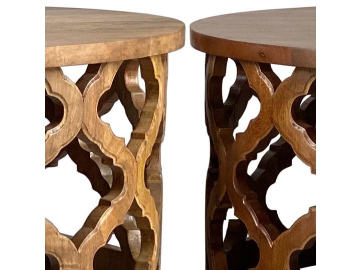 Stolik Kawowy HUGGEN STOR - 100 cm (Karmel) Drewno Zestaw stolików Styl Glamour Kształt blatu Okrągłe