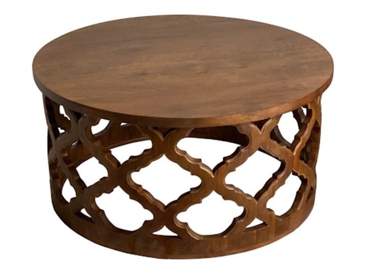 Stolik Kawowy HUGGEN STOR - 80 cm (Bursztyn) Kategoria Stoliki i ławy Drewno Wysokość 40 cm Kształt blatu Okrągłe