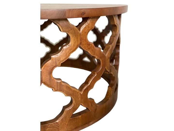 Stolik Kawowy HUGGEN STOR - 80 cm (Karmel) Drewno Kategoria Stoliki i ławy Kształt blatu Okrągłe