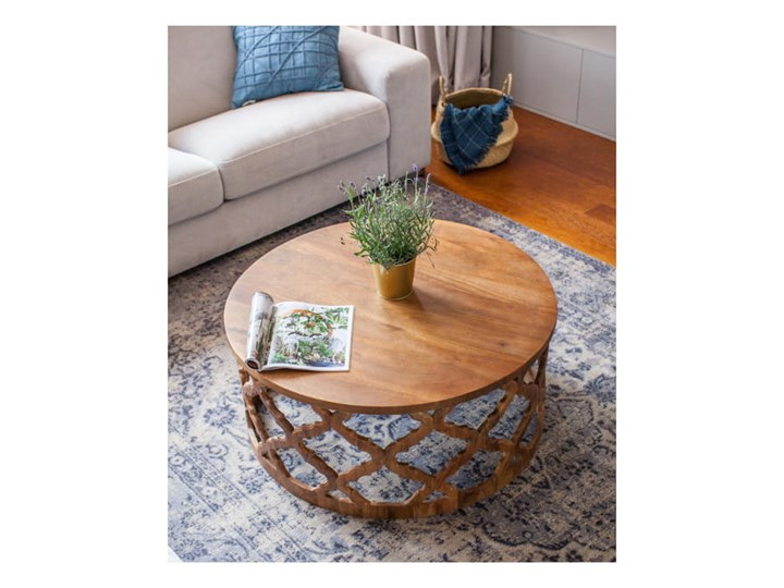 Stolik Kawowy HUGGEN STOR - 100 cm (Karmel) Zestaw stolików Drewno Styl Glamour