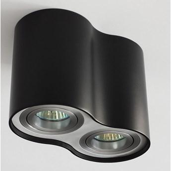 Oprawa podwójna natynkowa okrągła tuba MR16 GU10 czarna czarny mat aluminiowa aluminium wewnętrzna