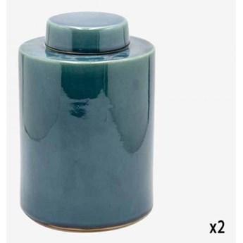 POJEMNIK CERAMICZNY SZKLIWIONY KOLOR MORSKI SANTORINI M 16,5x16,5x23,5 cm