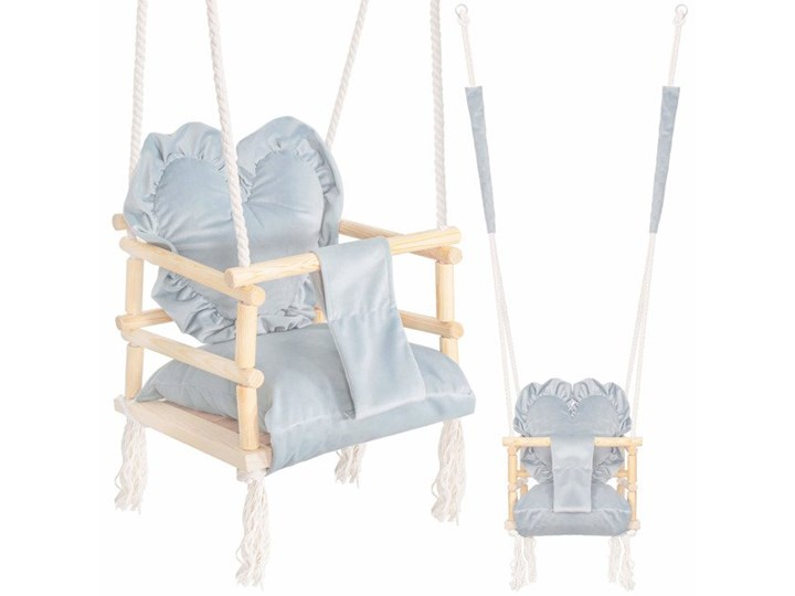 Huśtawka dla dzieci z oparciem i poduszką serce pudrowa mięta Drewno Kategoria Huśtawki dla dzieci