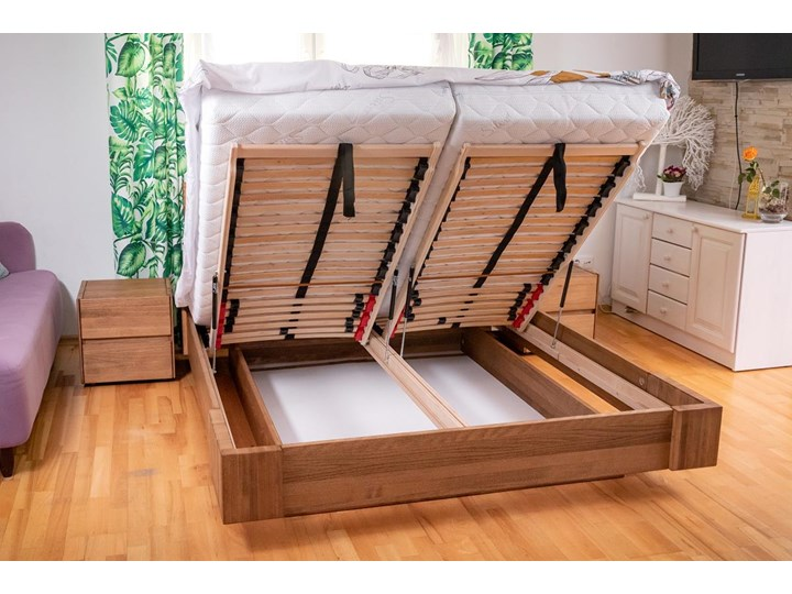 Zestaw: Beriet łóżko+2 szafki nocne z drewna bukowego lewitujące 140x200 cm Kategoria Zestawy mebli do sypialni