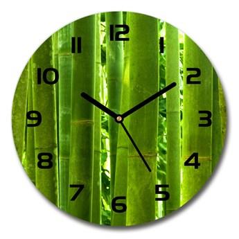 Zegar ścienny szklany okrągły Bambus