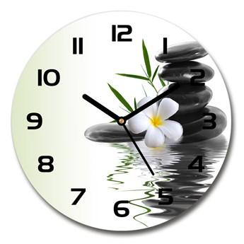 Zegar szklany okrągły Orchidea i kamienie