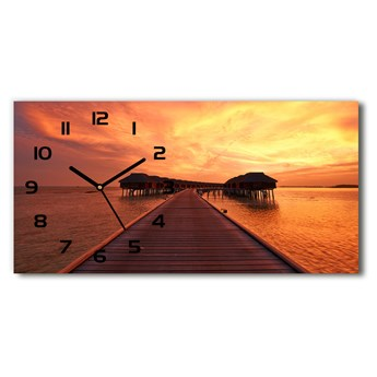 Zegar ścienny szklany Bungalowy Malediwy