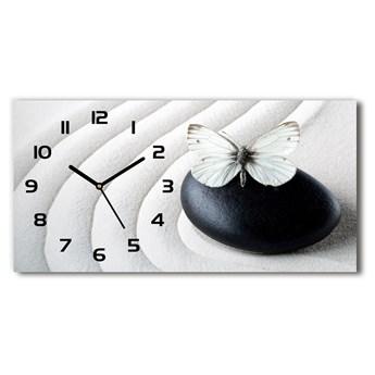 Zegar ścienny szklany Kamień zen i motyl