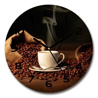Zegar szklany okrągły Kawa w filiżance