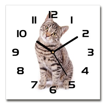 Zegar ścienny szklany kwadratowy Kot