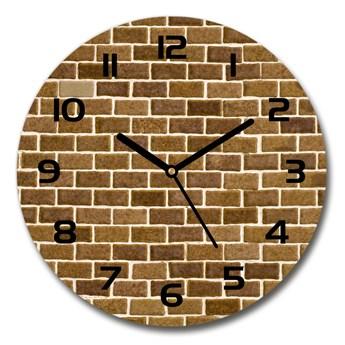 Zegar szklany okrągły Ceglana ściana