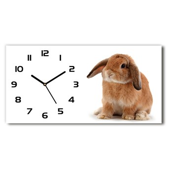 Nowoczesny zegar ścienny szklany Rudy królik