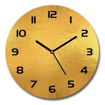 Zegar szklany okrągły Złota folia tło