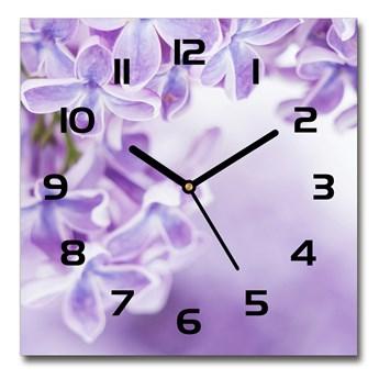 Zegar szklany kwadratowy Kwiaty bzu