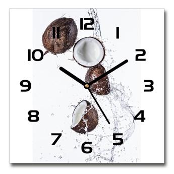 Zegar szklany kwadratowy Kokos z wodą