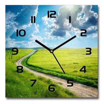 Zegar szklany kwadratowy Ścieżka na łące