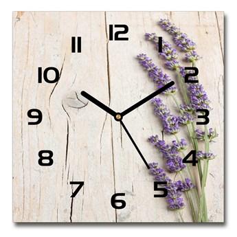 Zegar szklany kwadratowy Lawenda na drewnie