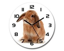 Zegar szklany okrągły Rudy królik