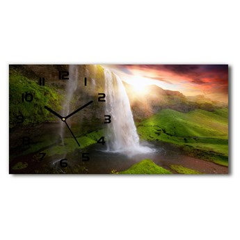 Nowoczesny zegar ścienny szklany Wodospad