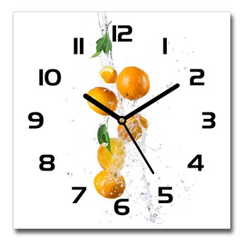 Zegar szklany kwadratowy Pomarańcze i woda
