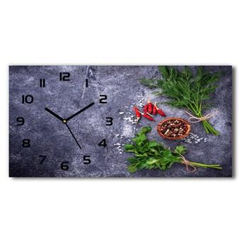Zegar ścienny szklany Zioła i przyprawy