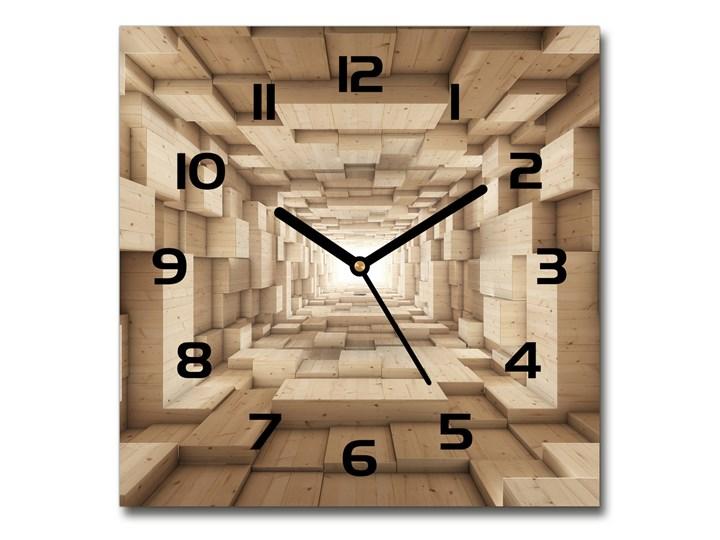 Zegar szklany kwadratowy Drewniany tunel Szkło Zegar ścienny Drewno Kolor Beżowy