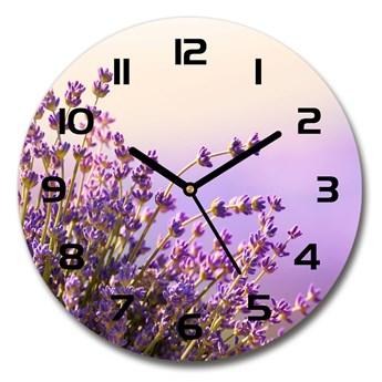 Zegar ścienny szklany okrągły Lawenda