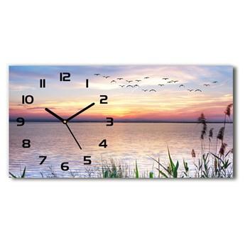 Zegar ścienny szklany cichy Jezioro zachód
