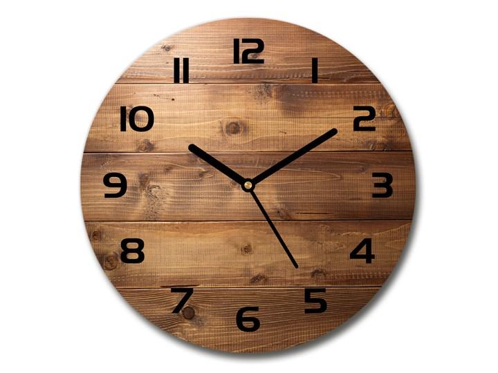 Zegar szklany okrągły Drewniane tło Drewno Zegar ścienny Szkło Kolor Brązowy