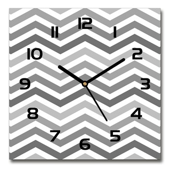 Zegar szklany kwadratowy Szare zygzaki