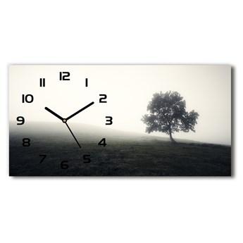 Zegar ścienny szklany cichy Samotne drzewo