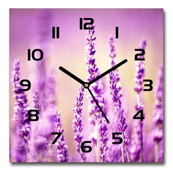 Zegar ścienny szklany kwadratowy Lawenda