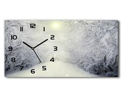 Zegar ścienny szklany Piękny las zimą