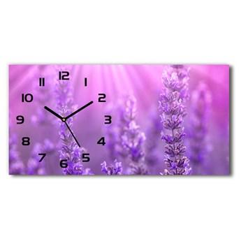 Nowoczesny zegar ścienny szklany Lawenda