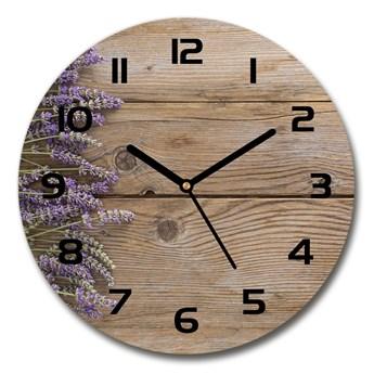 Zegar szklany okrągły Lawenda na drewnie
