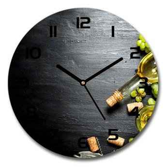 Zegar szklany okrągły Białe wino i owoce