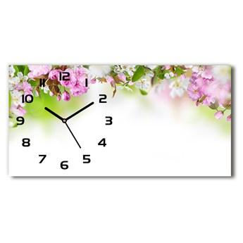 Zegar ścienny szklany Wiosenne kwiaty