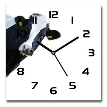 Zegar ścienny szklany kwadratowy Krowa