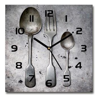 Zegar ścienny szklany kwadratowy Sztućce